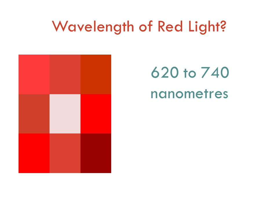 Wavelength of Red Light 620 to 740 nanometres