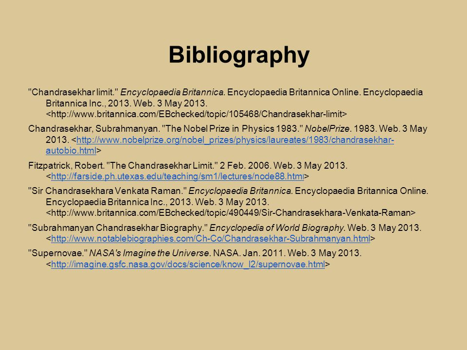 Bibliography Chandrasekhar limit. Encyclopaedia Britannica.