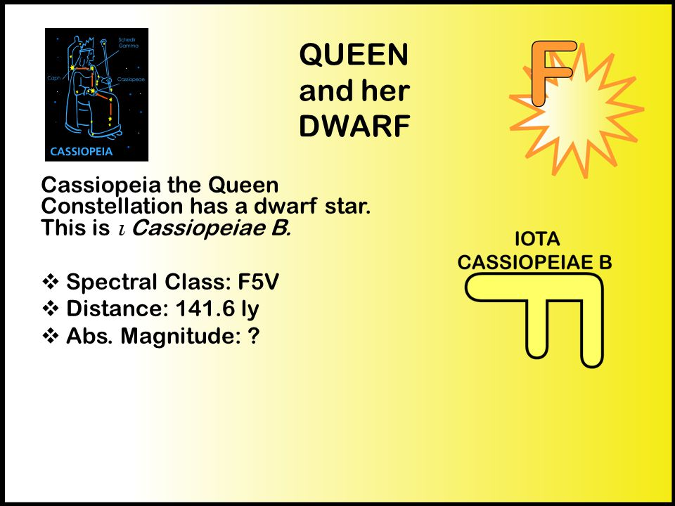 QUEEN and her DWARF Cassiopeia the Queen Constellation has a dwarf star.