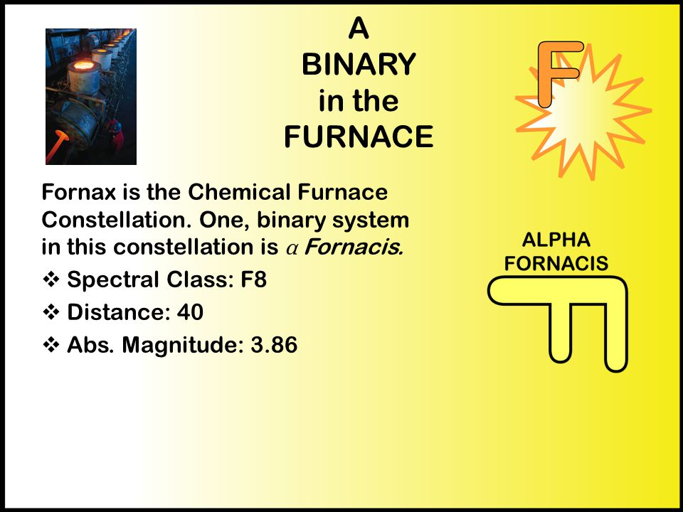 A BINARY in the FURNACE Fornax is the Chemical Furnace Constellation. One, binary system in this constellation is α Fornacis.  Spectral Class: F8  D