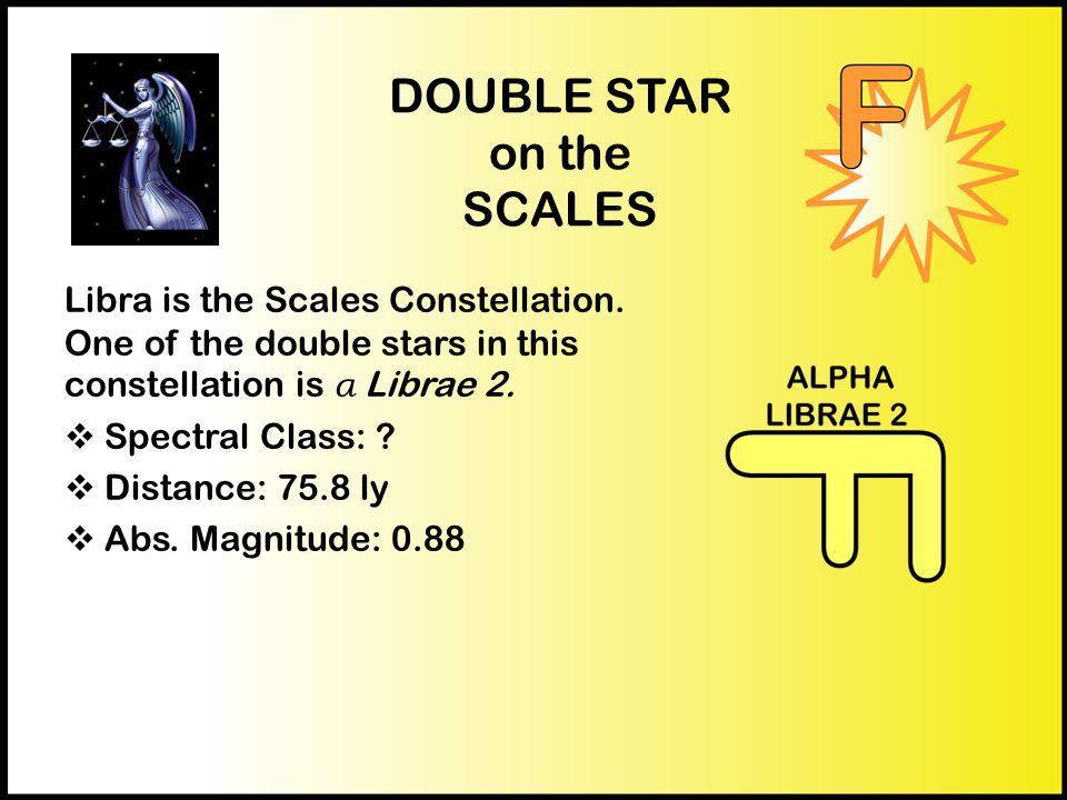 DOUBLE STAR on the SCALES Libra is the Scales Constellation.