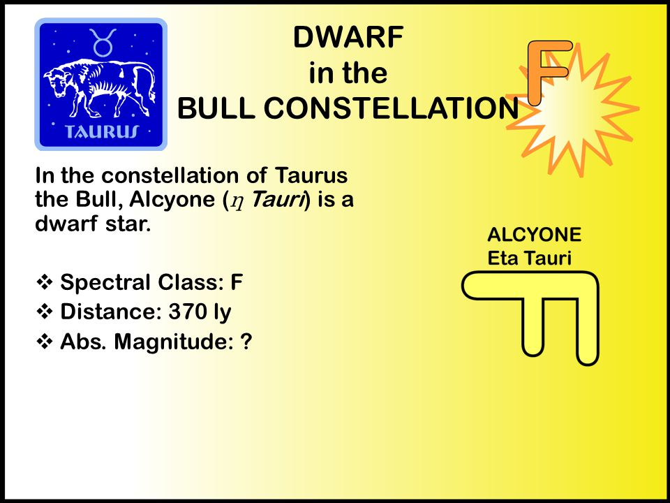 DWARF in the BULL CONSTELLATION In the constellation of Taurus the Bull, Alcyone ( η Tauri) is a dwarf star.