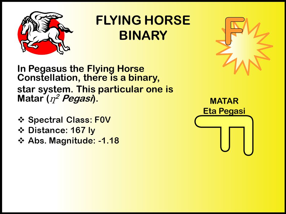 FLYING HORSE BINARY In Pegasus the Flying Horse Constellation, there is a binary, star system.