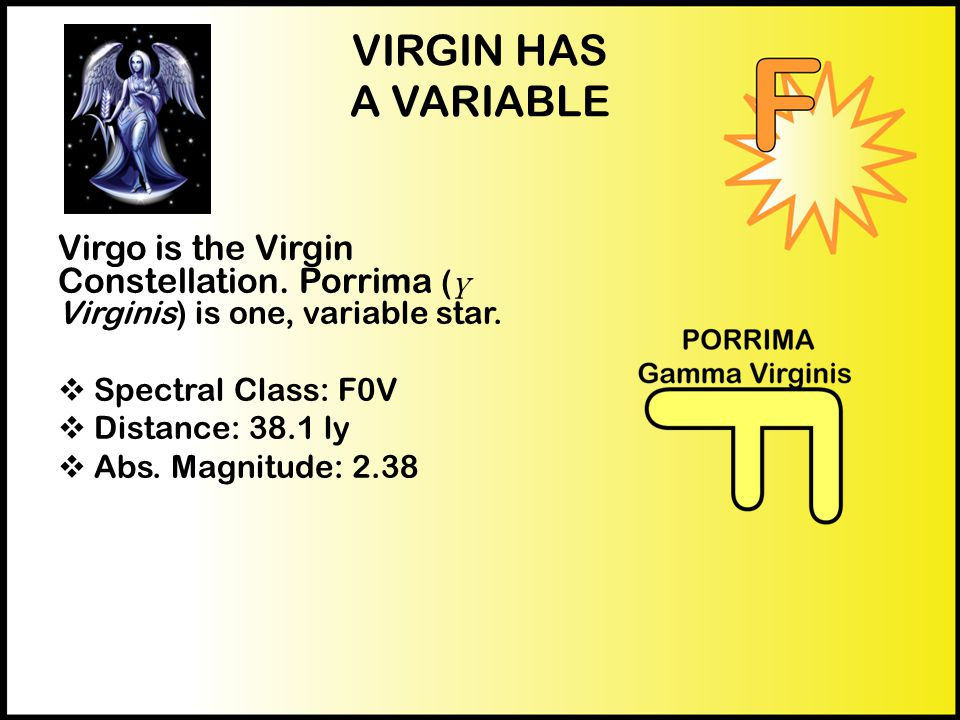 VIRGIN HAS A VARIABLE Virgo is the Virgin Constellation.