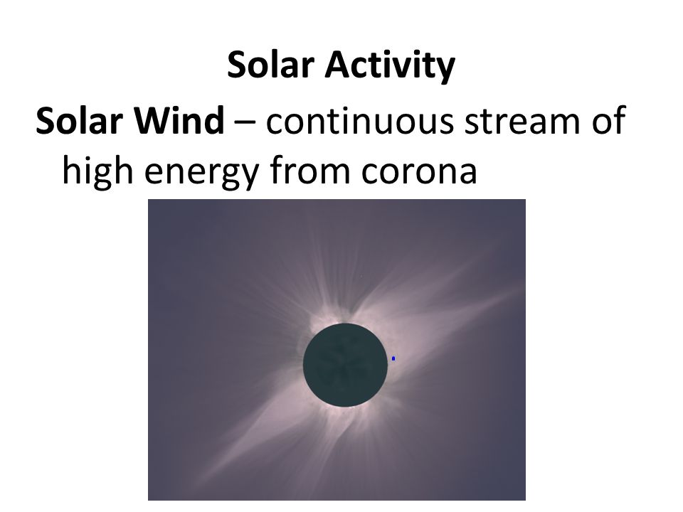 Solar Activity Solar Wind – continuous stream of high energy from corona