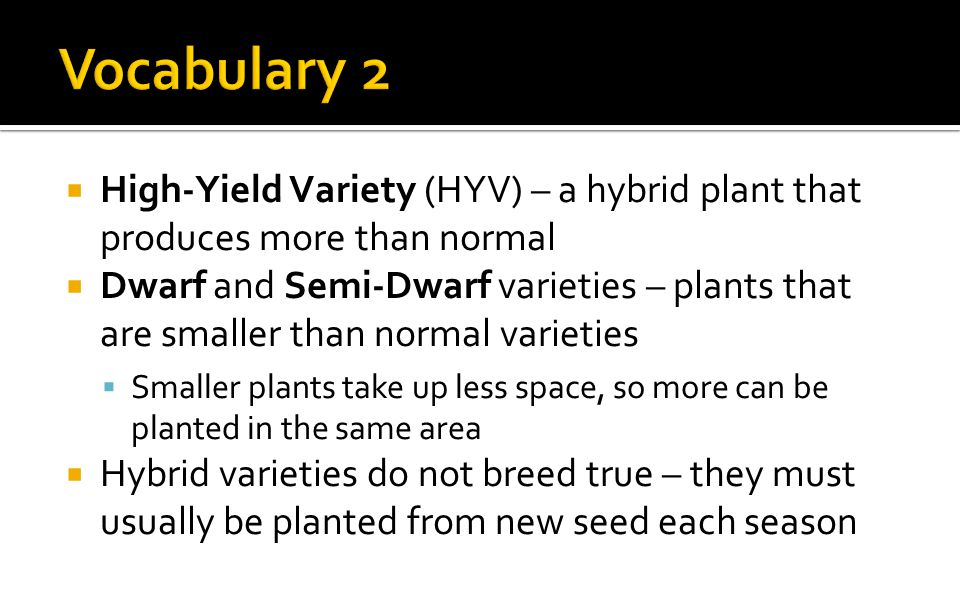  High-Yield Variety (HYV) – a hybrid plant that produces more than normal  Dwarf and Semi-Dwarf varieties – plants that are smaller than normal varieties  Smaller plants take up less space, so more can be planted in the same area  Hybrid varieties do not breed true – they must usually be planted from new seed each season