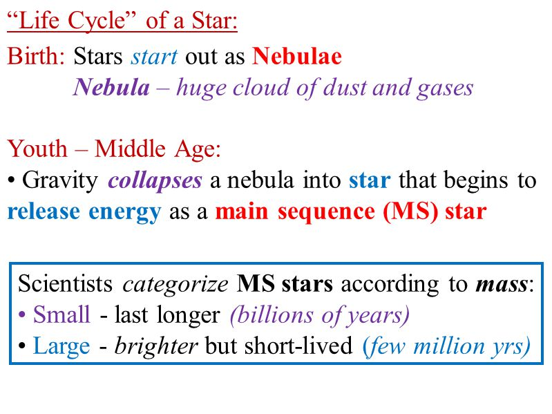 """Life Cycle"" of a Star: Birth: Stars start out as Nebulae Nebula – huge cloud of dust and gases Youth – Middle Age: Gravity collapses a nebula into st"