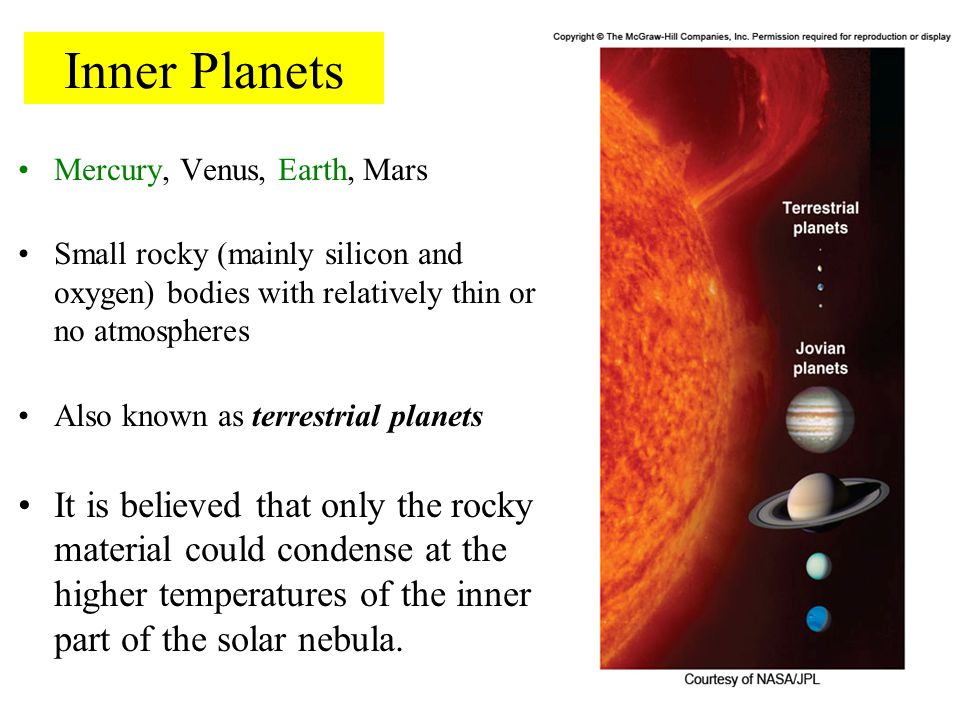 Inner Planets Mercury, Venus, Earth, Mars Small rocky (mainly silicon and oxygen) bodies with relatively thin or no atmospheres Also known as terrestr