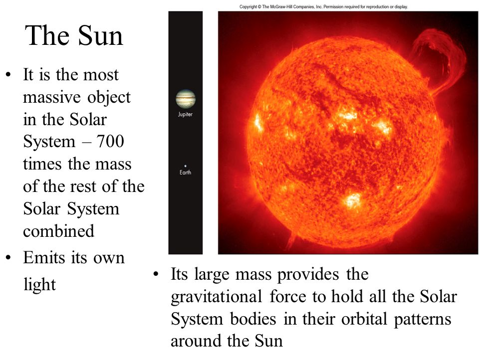 The Sun It is the most massive object in the Solar System – 700 times the mass of the rest of the Solar System combined Emits its own light Its large
