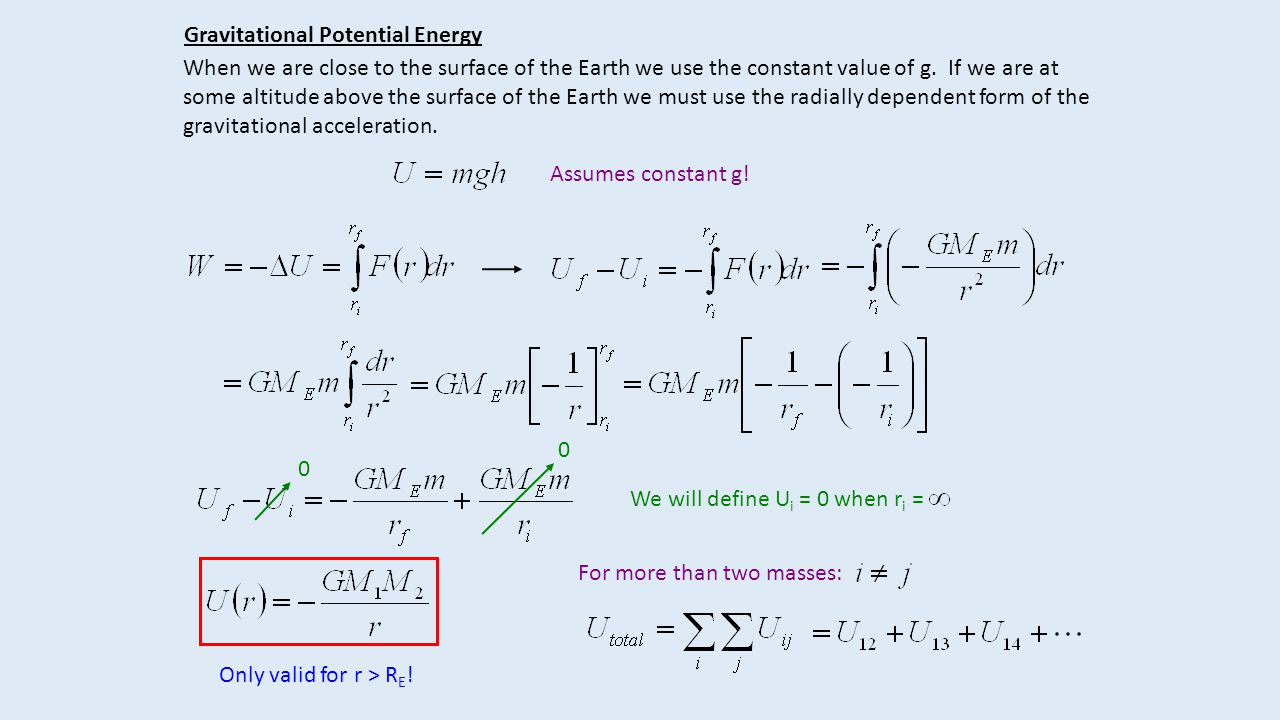Gravitational Potential Energy When we are close to the surface of the Earth we use the constant value of g.