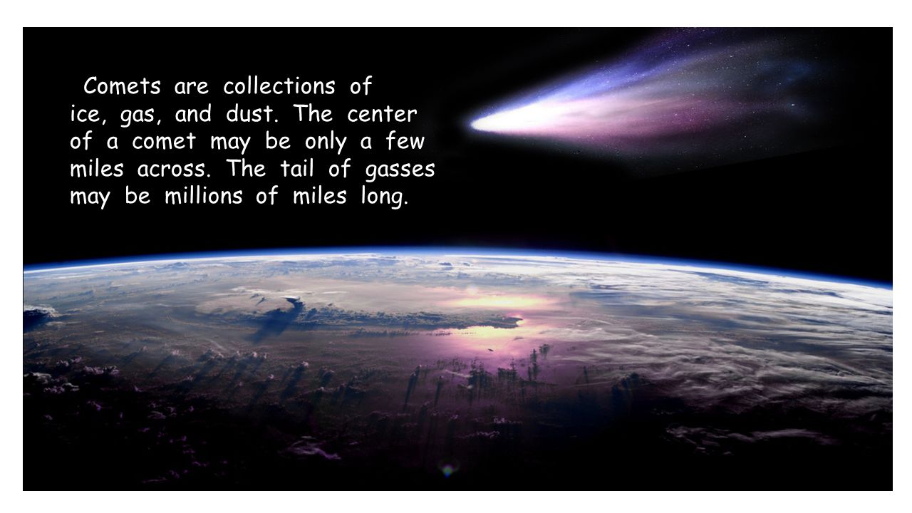 Comets are collections of ice, gas, and dust. The center of a comet may be only a few miles across. The tail of gasses may be millions of miles long.