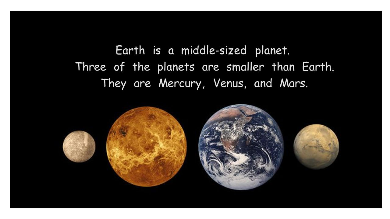 Earth is a middle-sized planet. Three of the planets are smaller than Earth. They are Mercury, Venus, and Mars.