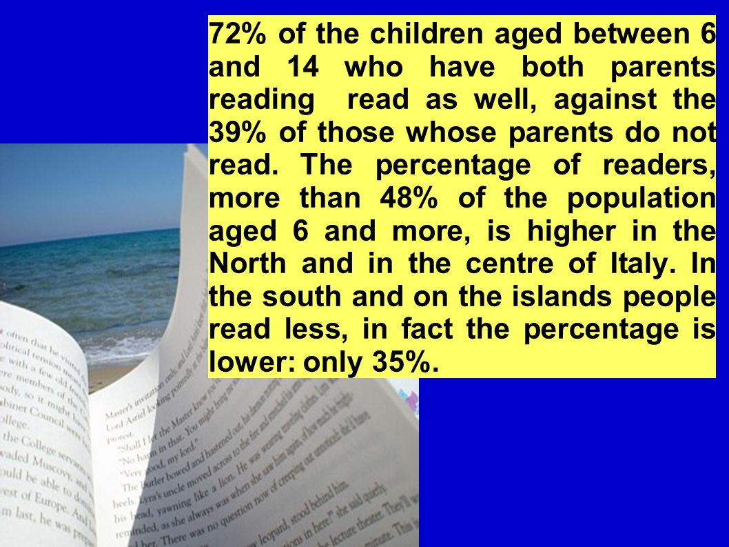 72% of the children aged between 6 and 14 who have both parents reading read as well, against the 39% of those whose parents do not read.