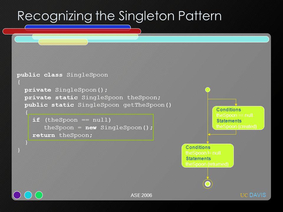 UC DAVIS ASE 2006 Recognizing the Singleton Pattern public class SingleSpoon { private SingleSpoon(); private static SingleSpoon theSpoon; public stat
