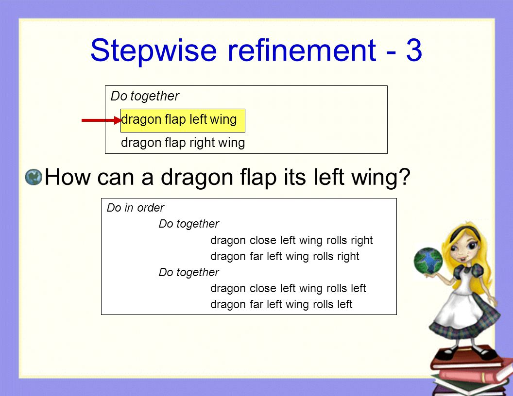 Stepwise refinement - 3 How can a dragon flap its left wing.