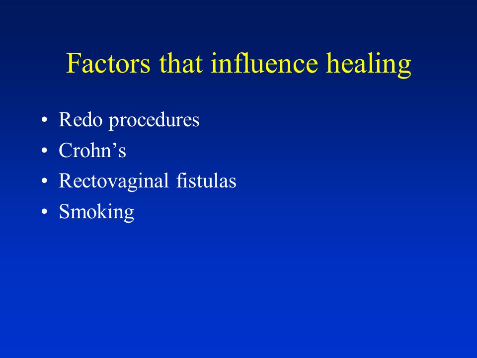 Factors that influence healing Redo procedures Crohn's Rectovaginal fistulas Smoking