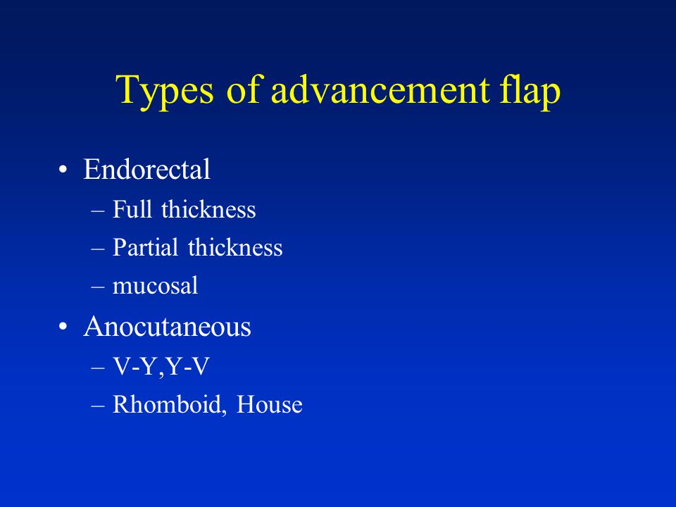 Types of advancement flap Endorectal –Full thickness –Partial thickness –mucosal Anocutaneous –V-Y,Y-V –Rhomboid, House