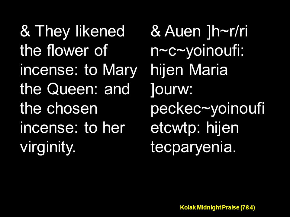 Koiak Midnight Praise (7&4) & They likened the flower of incense: to Mary the Queen: and the chosen incense: to her virginity.