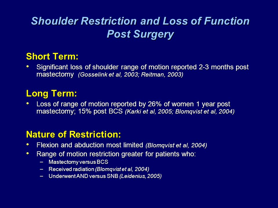 Shoulder Restriction and Loss of Function Post Surgery Short Term: Significant loss of shoulder range of motion reported 2-3 months post mastectomy (G