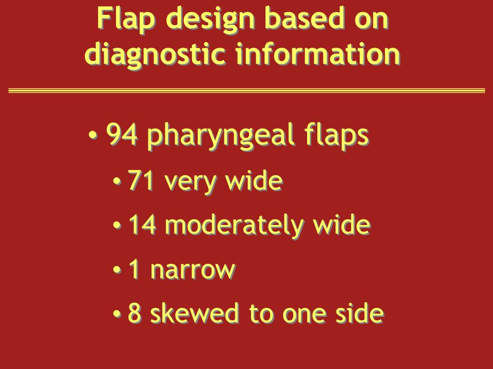 Flap design based on diagnostic information 94 pharyngeal flaps 71 very wide 14 moderately wide 1 narrow 8 skewed to one side 94 pharyngeal flaps 71 very wide 14 moderately wide 1 narrow 8 skewed to one side