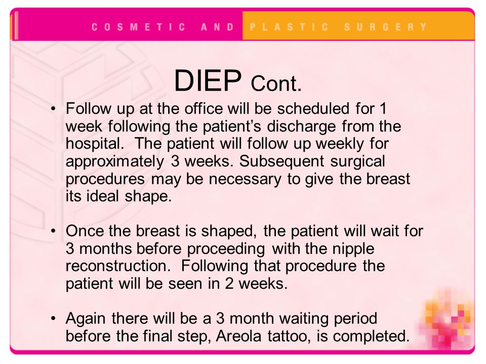 DIEP Cont. Follow up at the office will be scheduled for 1 week following the patient's discharge from the hospital. The patient will follow up weekly