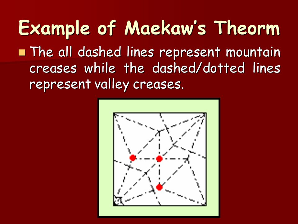 Example of Maekaw's Theorm The all dashed lines represent mountain creases while the dashed/dotted lines represent valley creases. The all dashed line