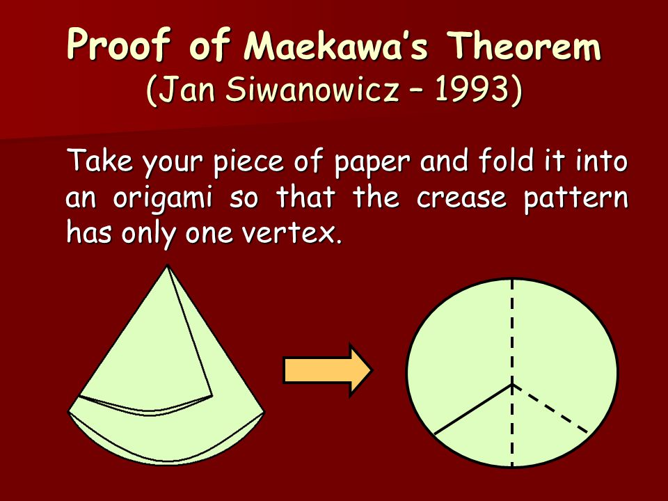 Take your piece of paper and fold it into an origami so that the crease pattern has only one vertex. Proof of Maekawa's Theorem (Jan Siwanowicz – 1993
