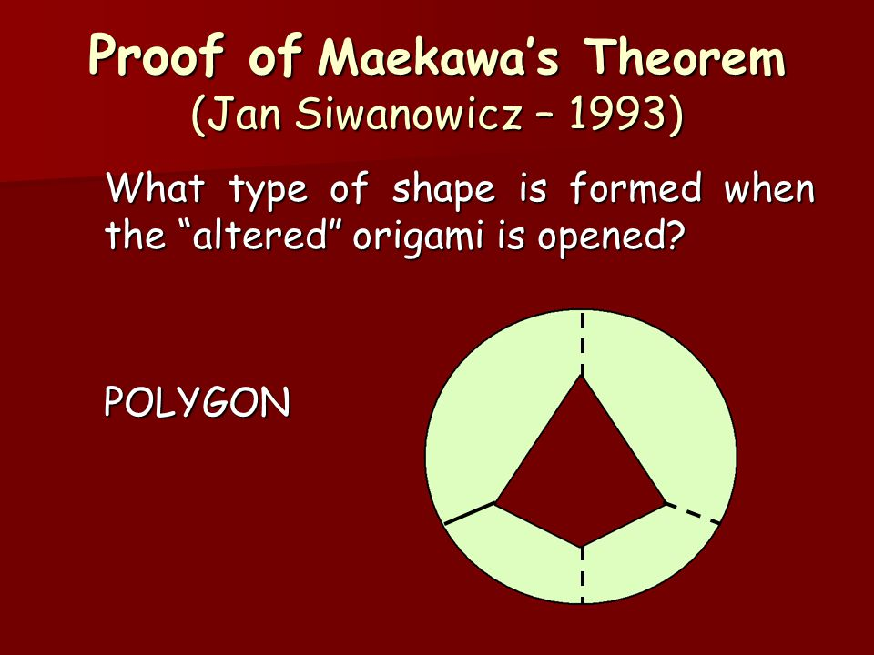 """Proof of Maekawa's Theorem (Jan Siwanowicz – 1993) What type of shape is formed when the """"altered"""" origami is opened? POLYGON"""