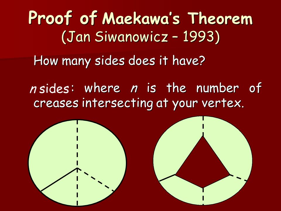 Proof of Maekawa's Theorem (Jan Siwanowicz – 1993) How many sides does it have? : where n is the number of creases intersecting at your vertex. n side