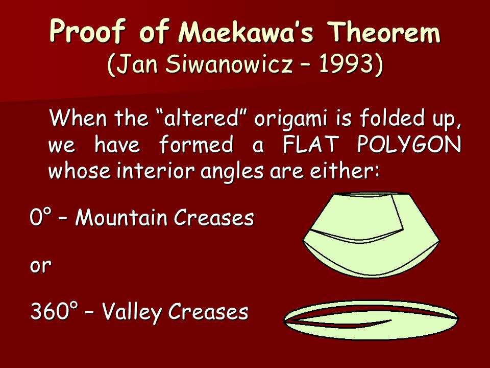 Proof of Maekawa's Theorem (Jan Siwanowicz – 1993) When the altered origami is folded up, we have formed a FLAT POLYGON whose interior angles are either: 0° – Mountain Creases or 360° – Valley Creases