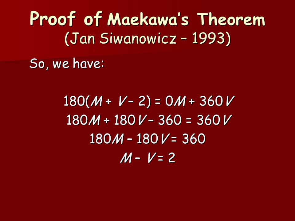 Proof of Maekawa's Theorem (Jan Siwanowicz – 1993) So, we have: 180(M + V – 2) = 0M + 360V 180M + 180V – 360 = 360V 180M – 180V = 360 M – V = 2
