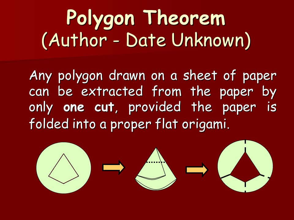Polygon Theorem (Author - Date Unknown) Any polygon drawn on a sheet of paper can be extracted from the paper by only one cut, provided the paper is folded into a proper flat origami.