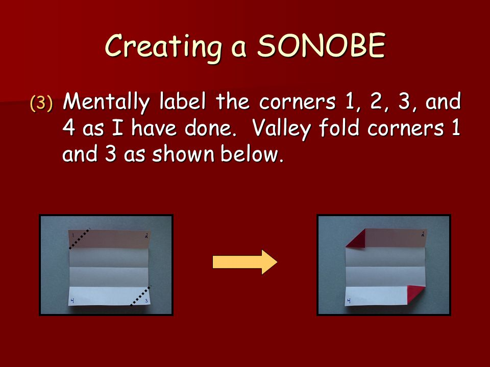 Creating a SONOBE (3) Mentally label the corners 1, 2, 3, and 4 as I have done.