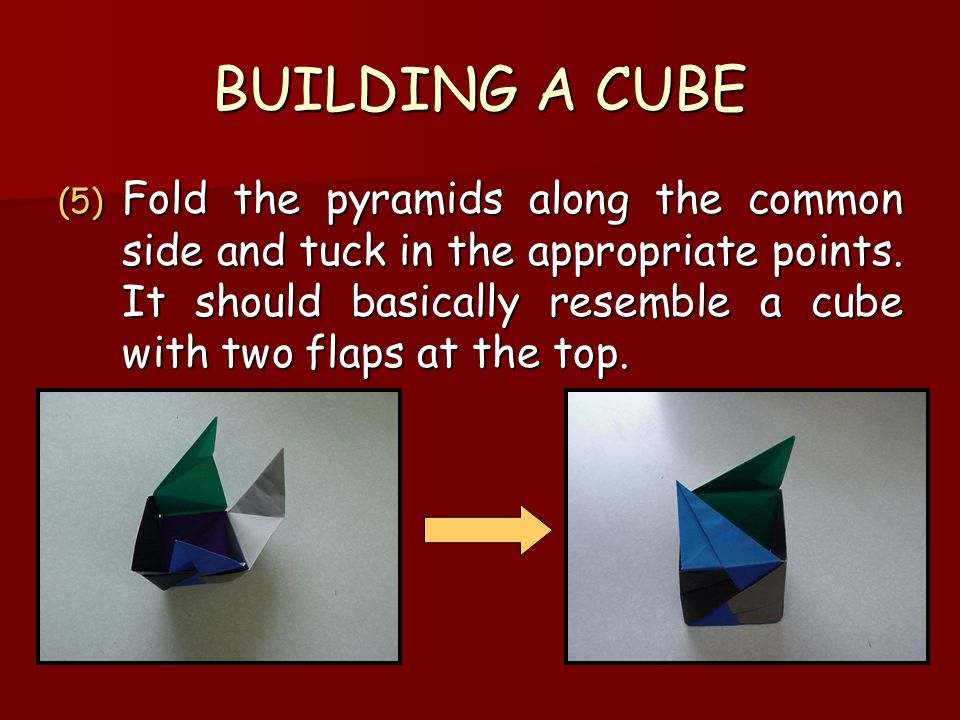 BUILDING A CUBE (5) Fold the pyramids along the common side and tuck in the appropriate points. It should basically resemble a cube with two flaps at