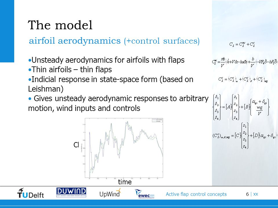 6 Active flap control concepts | xx The model Unsteady aerodynamics for airfoils with flaps Thin airfoils – thin flaps Indicial response in state-space form (based on Leishman) Gives unsteady aerodynamic responses to arbitrary motion, wind inputs and controls airfoil aerodynamics (+control surfaces) Cl time