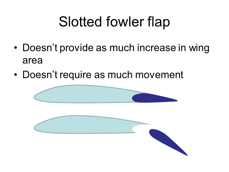 Slotted fowler flap Doesn't provide as much increase in wing area Doesn't require as much movement