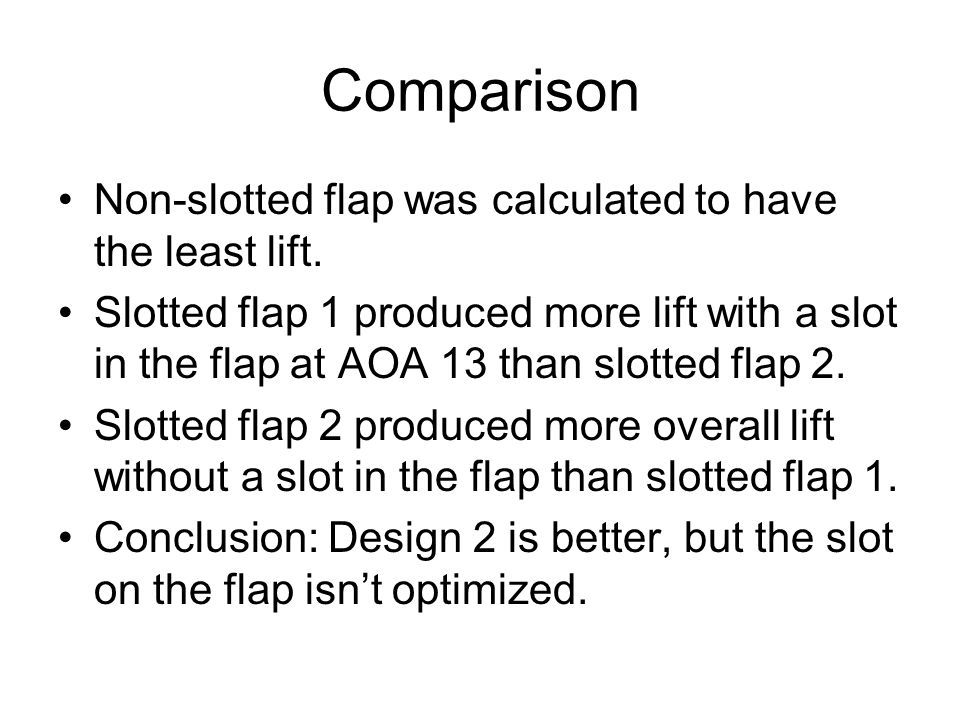 Comparison Non-slotted flap was calculated to have the least lift.