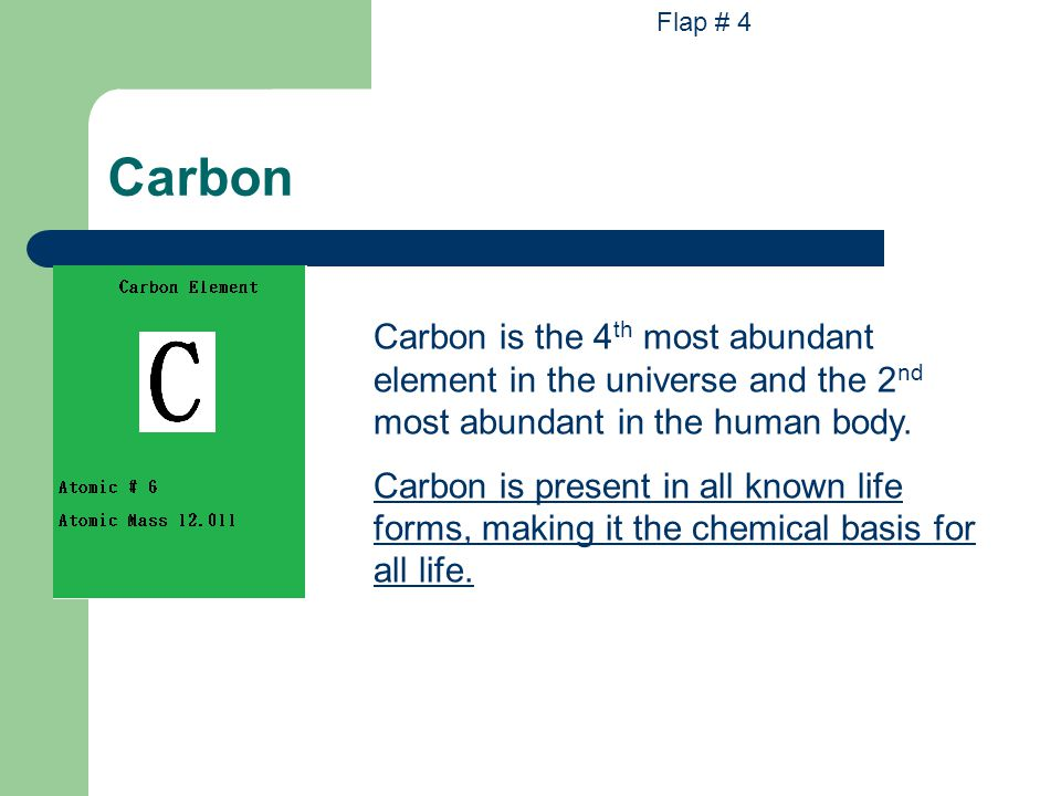 Carbon Carbon is the 4 th most abundant element in the universe and the 2 nd most abundant in the human body. Carbon is present in all known life form