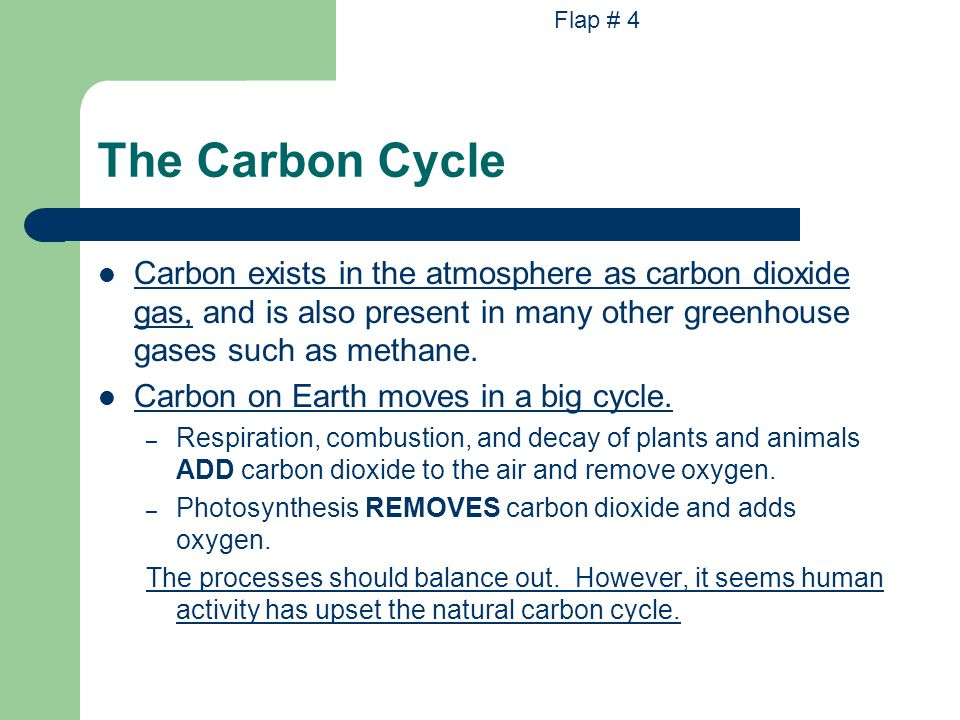 The Carbon Cycle Carbon exists in the atmosphere as carbon dioxide gas, and is also present in many other greenhouse gases such as methane.