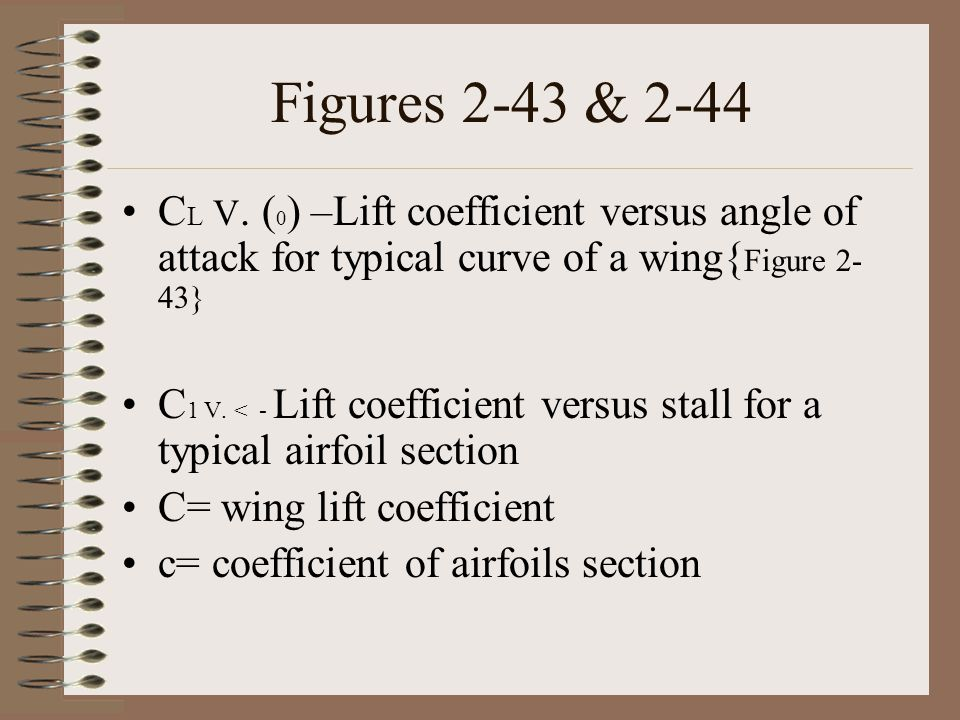 Figures 2-43 & 2-44 C L V. ( 0 ) –Lift coefficient versus angle of attack for typical curve of a wing{ Figure 2- 43} C 1 V. < - Lift coefficient versu