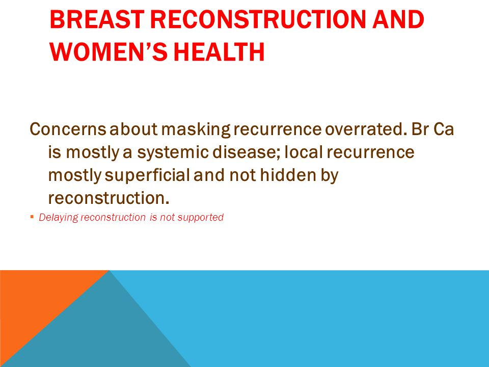 BREAST RECONSTRUCTION AND WOMEN'S HEALTH Concerns about masking recurrence overrated.