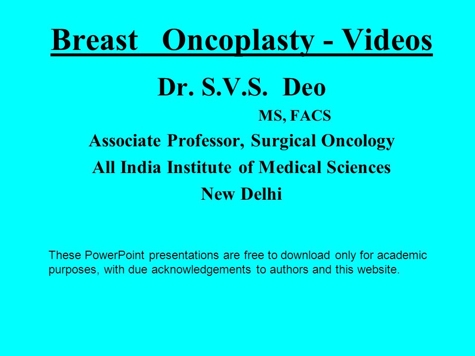 Breast Oncoplasty - Videos Dr. S.V.S.