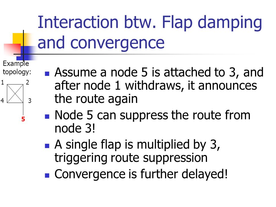 Interaction btw. Flap damping and convergence Assume a node 5 is attached to 3, and after node 1 withdraws, it announces the route again Node 5 can su
