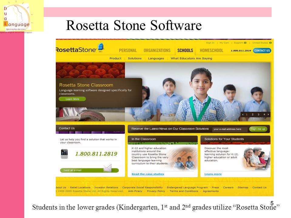 Rosetta Stone - Level 1 * Online with server * Very basic vocabulary * K -1 grade * Lots of repetition * Pictures/ word association *recommended period of 30 minutes 6