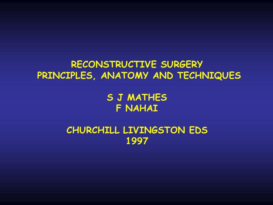 RECONSTRUCTIVE SURGERY PRINCIPLES, ANATOMY AND TECHNIQUES S J MATHES F NAHAI CHURCHILL LIVINGSTON EDS 1997