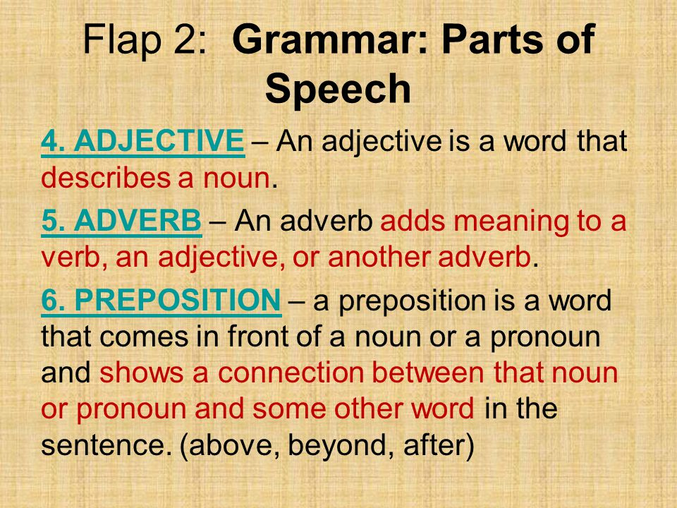 Flap 2: Grammar: Parts of Speech 4.ADJECTIVE4.