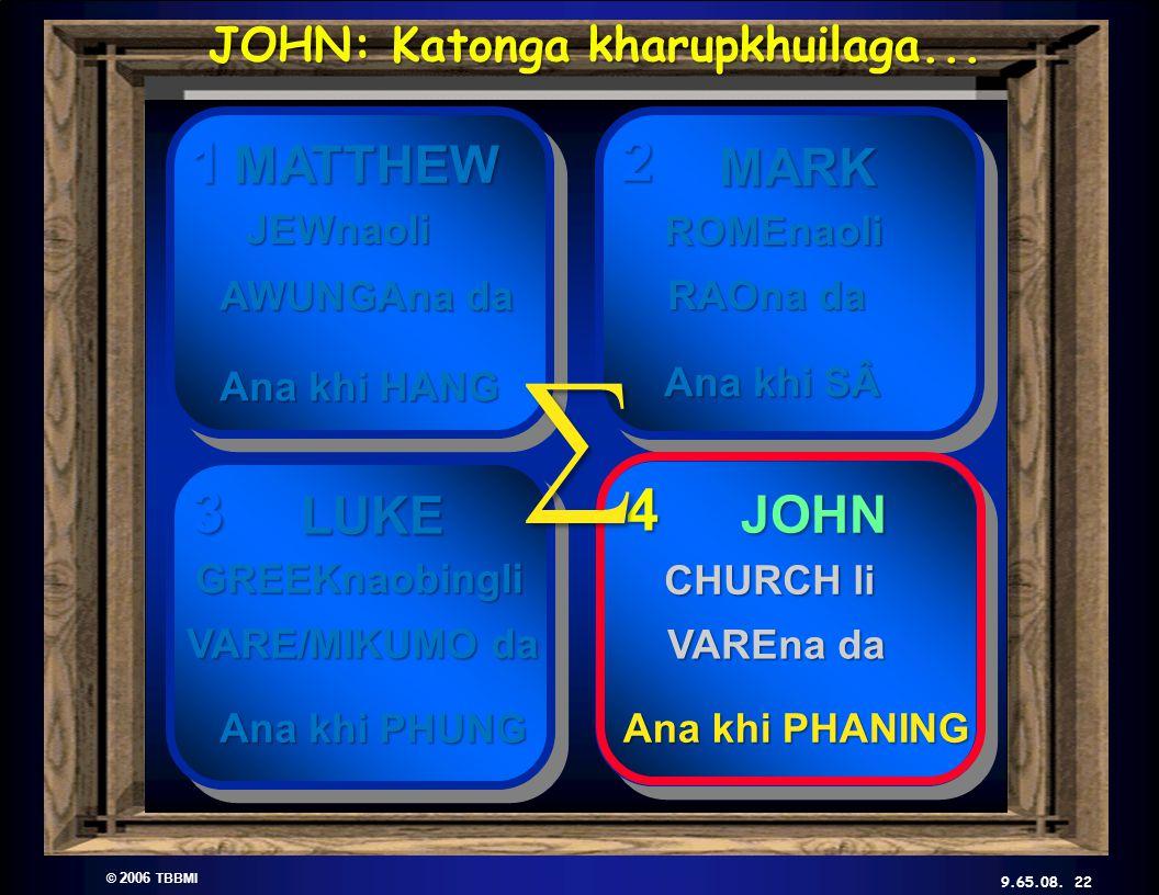 © 2006 TBBMI 9.65.08. Kadhara Tuingashit ngarumda rai 2 3 4 1 ∑ 22 JOHN: Katonga kharupkhuilaga...