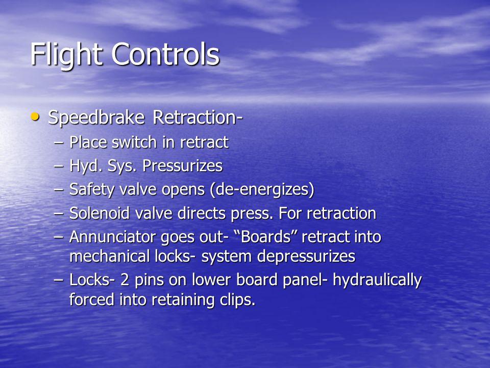 Flight Controls Speedbrake Retraction- Speedbrake Retraction- –Place switch in retract –Hyd.