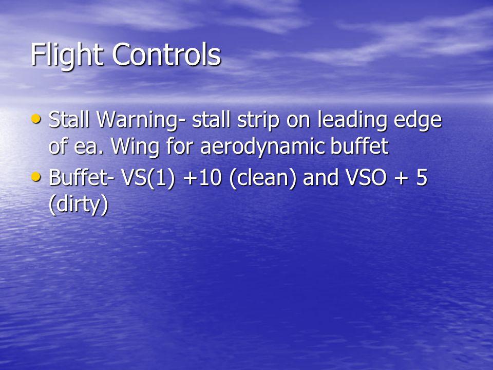 Flight Controls Stall Warning- stall strip on leading edge of ea.