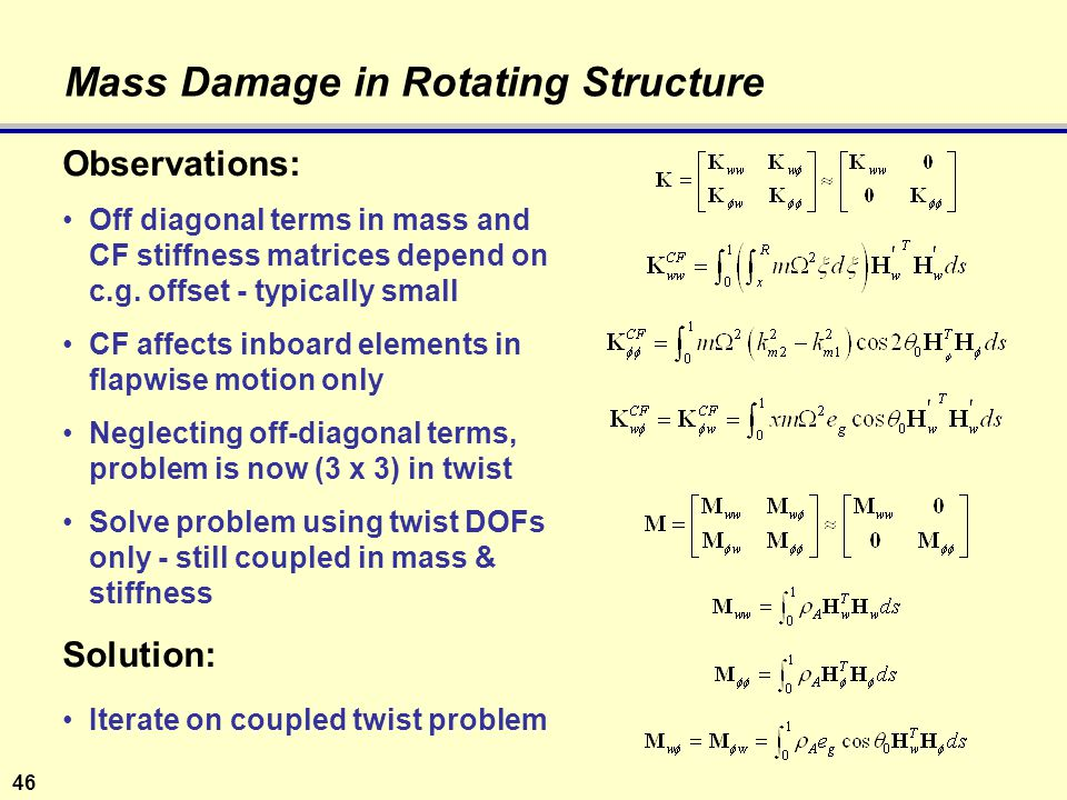 46 Mass Damage in Rotating Structure Observations: Off diagonal terms in mass and CF stiffness matrices depend on c.g.